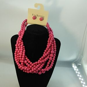 Kim Rogers 6 Strand Necklace with Post Earrings